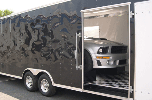 New Mustang in Enclosed Transport Truck