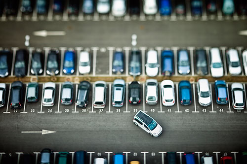 Vehicles parked at an auction lot
