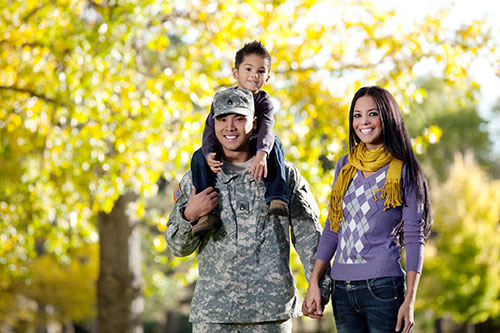 Military Family in the park together