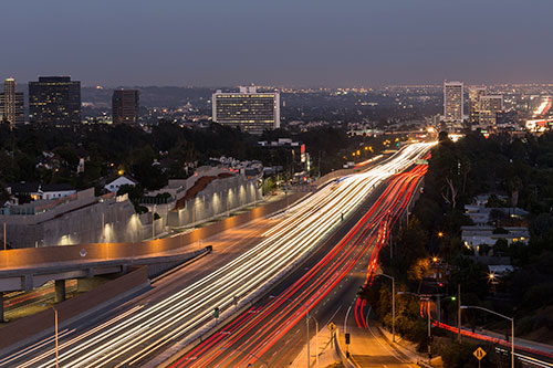 Los Angeles Freeway View at Night