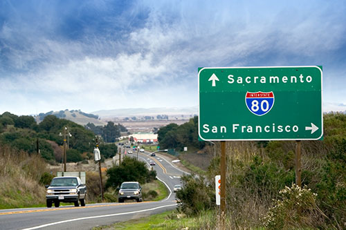 Sacramento interstate sign on freeway