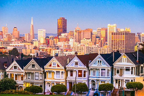 San Francisco houses overlooking the city