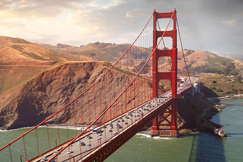 Golden Gate Bridge overlooking mountains