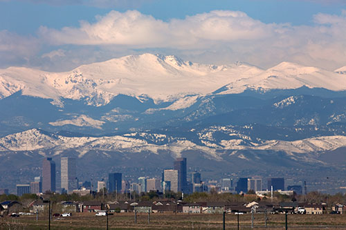 Denver City View with Mountains