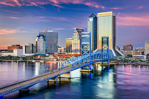 jacksonville cityscape at sunset
