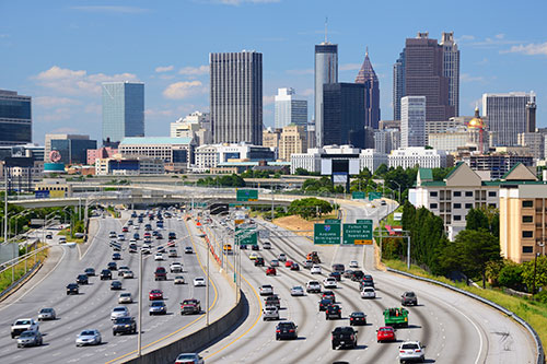 atlanta skyline overlooking freeway