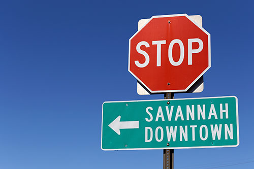 downtown Savannah sign