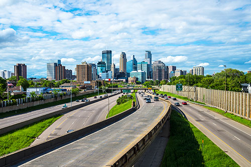 Minneapolis City view and freeway