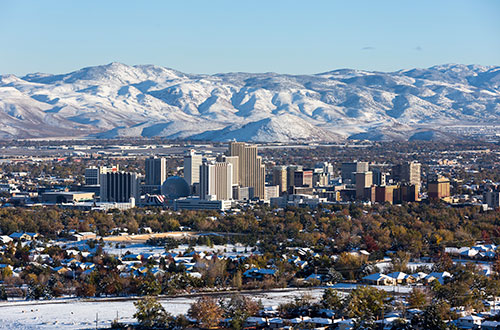 Aerial View of Reno and the Mountains