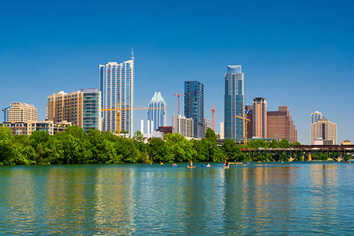 Austin skyline and shore