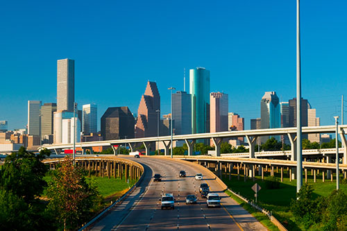City and freeway view of Houston